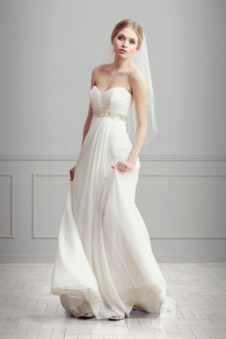 A Line Sweetheart Chiffon Wedding Dress With Sleeveless