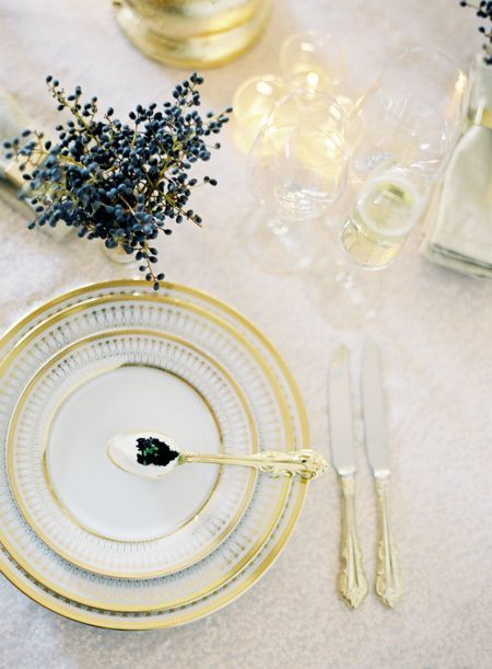 a wintery white and gold setting