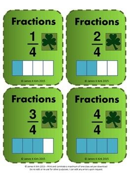 St Patrick's Day style fraction cards to print and laminate. Great resource.