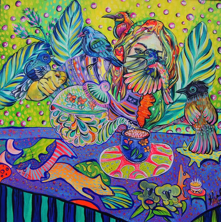 Katerina Apale  Afternoon tea, acrylic on canvas, 2015 facebook.com/katerina.apale.art Instagram  apale.art bluethumb.com.au/katerina-apale #australianart #katerinaapale #apaleart #painting #koala #birds