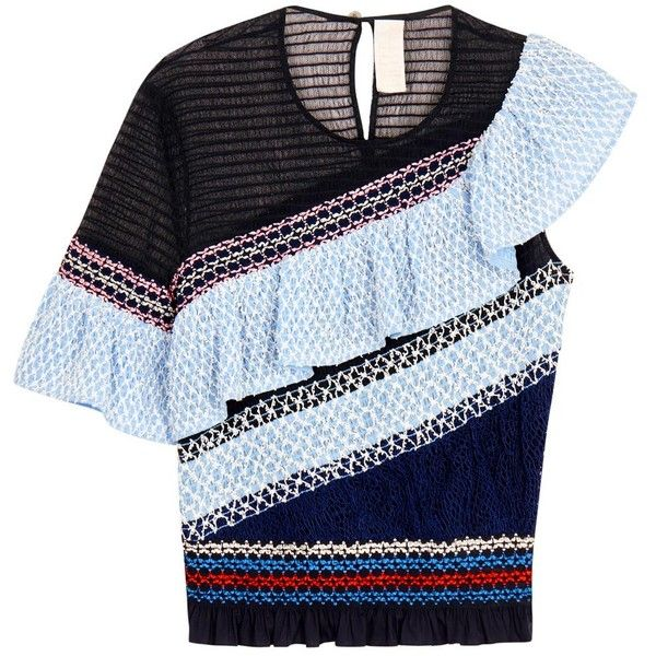 Womens Evening Tops Peter Pilotto Octave Navy Ruffled Cotton Blend Top (93.725 RUB) ❤ liked on Polyvore featuring tops, blue top, blue peplum top, navy top, asymmetrical top and navy peplum top
