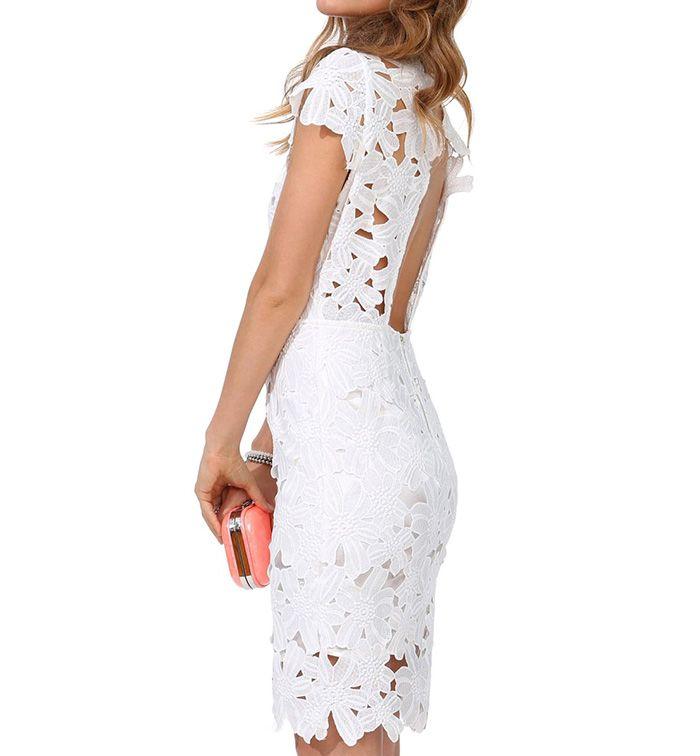 Open Back Pencil Dress In Cutwork Lace