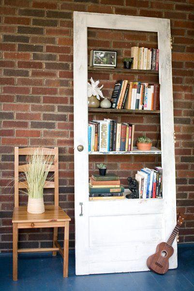 Vintage door repurposed bookshelf- don't know where it'd go, but looks kinda cool