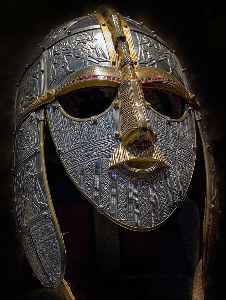 Anglian influences: Rædwald of the Wuffingas who aided Edwin of Northumbria. Reconstruction of Sutton Hoo helmet.