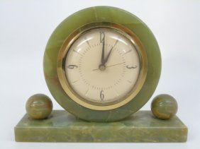 Vintage Green Onyx Mantle Clock By Sessions Co.