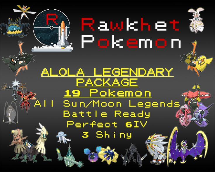 Get all 19 available Legendary Pokemon in Alola (Gen 7)! These Pokemon are all Battle Ready holding competitive items, Fully Trained, with Perfect 6IVs.  Note that no customization is allowed on this package.  List of Pokemon: Type:Null, Silvally, Tapu Koko, Tapu Lele, Tapu Bulu, Tapu Fini, Cosmog, Cosmoem, Solgaleo, Lunala, Nihilego, Buzzwole, Pheromosa, Xurkitree, Celesteela, Kartana, Guzzlord, Necrozma, Magearna
