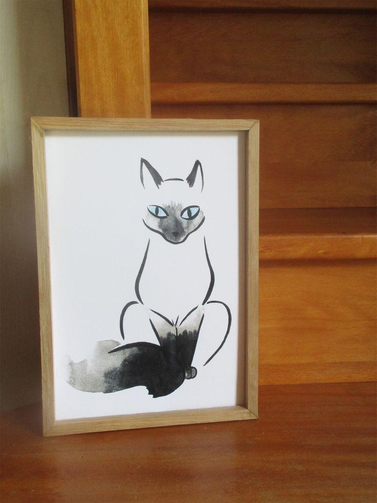 Le Siamois  Illustration réalisée à l'encre ( lavis ) et aux pastels. Impression au format A4.  Amoureux des siamois, offrez vous ce chat pour votre décoration ! Les impressions sont limitées ! Faites vite !