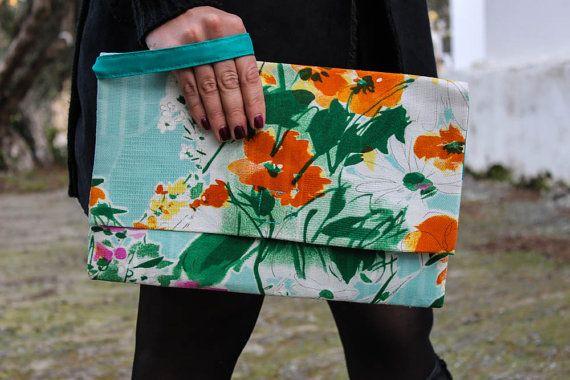 Handmade floral oversized clutch bag/ floral handbag/ clutch purse/orange or purple clutch/light blue floral purse