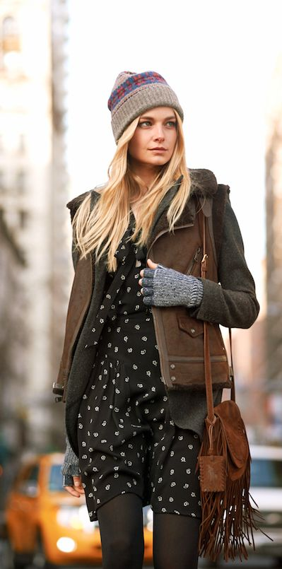 This Polo Ralph Lauren shearling vest is rustic chic with a moto-inspired asymmetrical zip. This piece is ideal for layering and adding  a cool edge to floaty floral-print dresses.