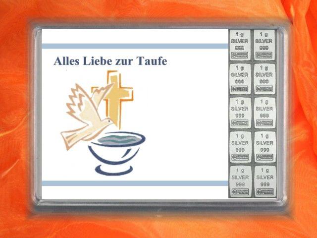 10 g Silberbarren zur Taufe mit Taube und Taufbecken