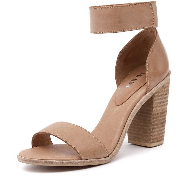 Mollini Blip Nude (170 AUD) ❤ liked on Polyvore featuring shoes, pumps, nude high heel pumps, leather pumps, open-toe pumps, open toe shoes and ankle strap high heel pumps