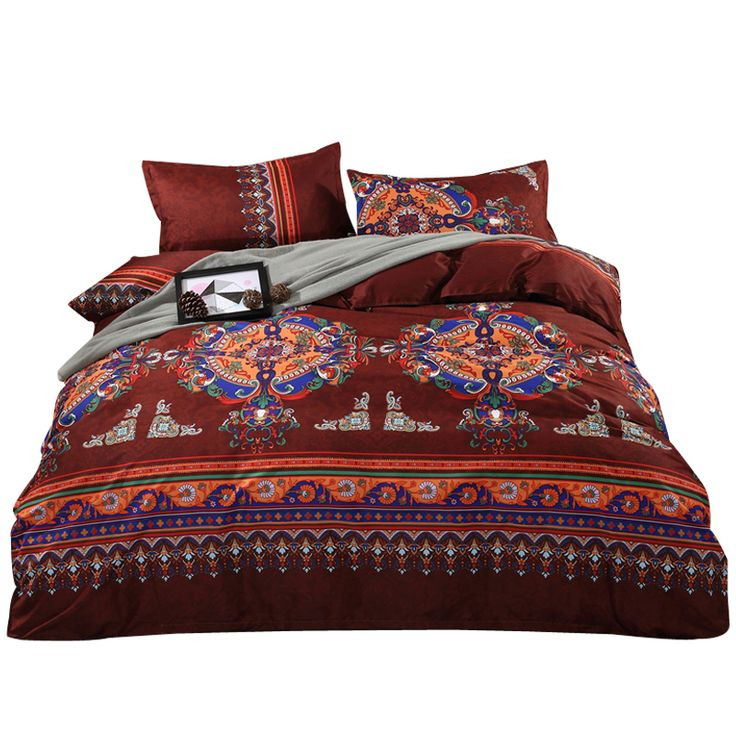 Svetanya Boho Brown Quilt Cover Sets US Twin Queen King Size Bedding Sets Colorful Bedclothes Cheap Bed Linens #Affiliate