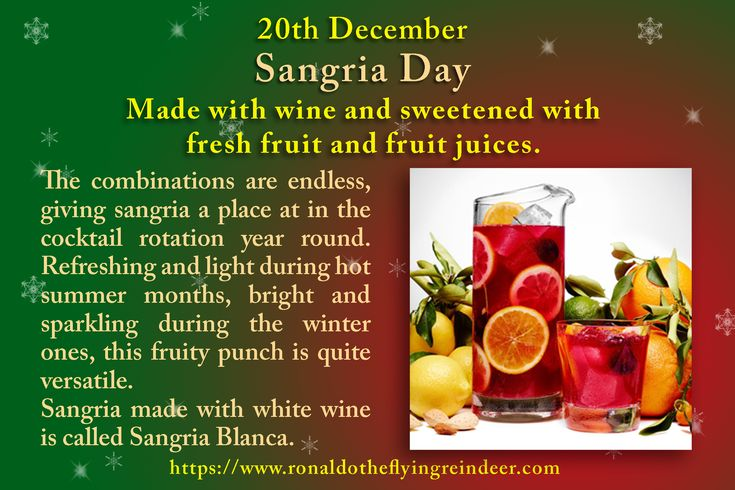 #today 20th December is #NationalSangriaDay #MuddDay  Use fresh fruit in season for the best flavours. Once mixed, sangria should be chilled and the fruits allowed to marinate a few hours or overnight.  #sangria #sangriaday #cocktails #drinks #booze