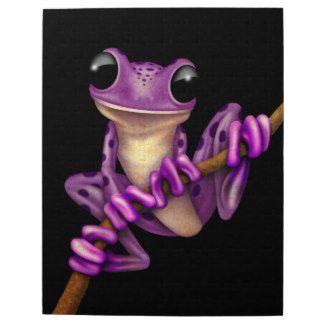 Purple Tree Frog | Cute Purple Tree Frog on a Branch on Black Jigsaw Puzzles