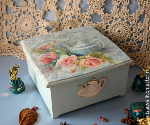 """Купить Чайный короб """"Время пить чай"""" - голубой, чайный короб, чайный короб купить"""