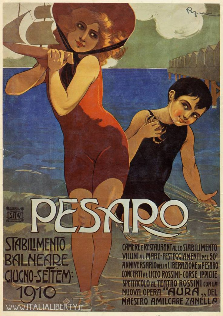 www.italialiberty.it - Manifesto pubblicitario Pesaro, 1910