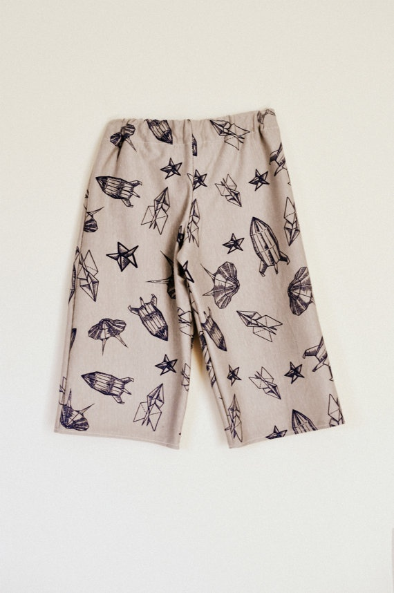 Toddler boys long shorts baggy trousers ankle biters cropped pants pyjama bottoms grey spaceship jersey print 3-4. $20.00, via Etsy.