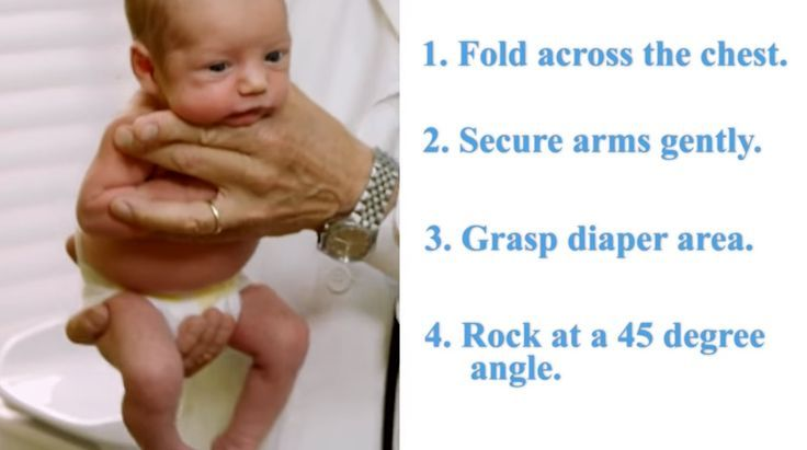 """Our life hack today is a perfect solution for calming your little one! Dr. Robert Hamilton, a pediatrician from Santa Monica, California is going to teach us an unusual trick on how to soothe a crying baby by using """"The Hold"""" technique. This method has been used to quiet down babies during their visits to the clinic."""