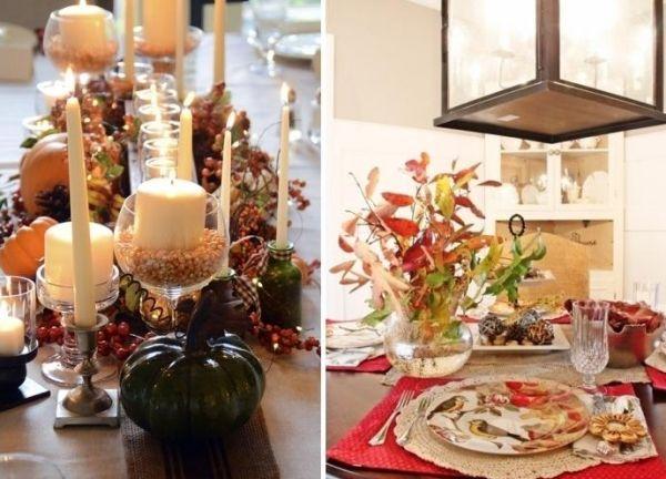 Romantisches Abendessen-Tisch Dekorieren-Rot Tischläufer-Herbst-Schätze