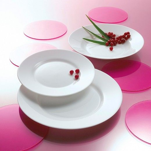 """The Everyday Dinnerware Collection is simple, yet elegant. The classic round shape with a large rim looks great for everyday, but also perfect for gatherings and to enhance food presentation. A simple expression of minimalist beauty: pure, gleaming, porcelain-like white body. The 12pc set includes 4 dinner plates 10.25"""", 4 appetizer plates 7.25"""" and 4 bowls 6.25""""."""