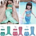 Girl Mermaid Tail for Swimming Monofin Capable Sea-maid Fantasia Ariel Cosplay Costume Bikini Swimwear Kids Children Dress