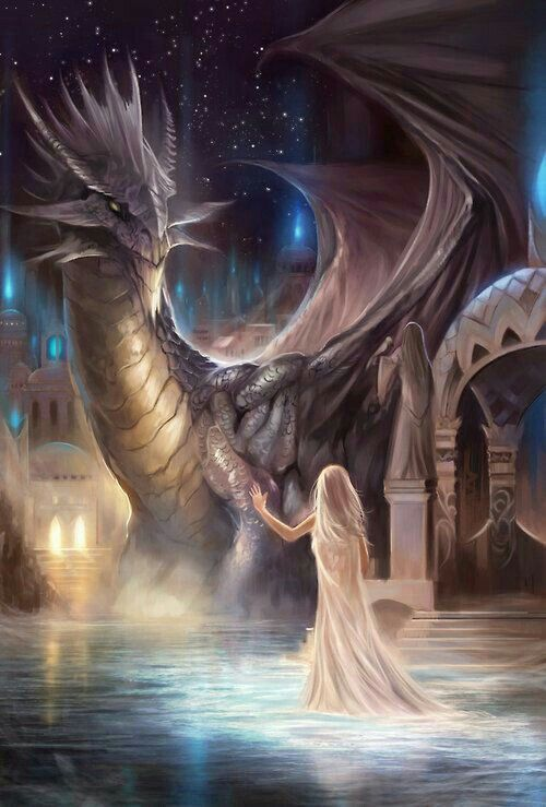 Wit haar en draak fantasy