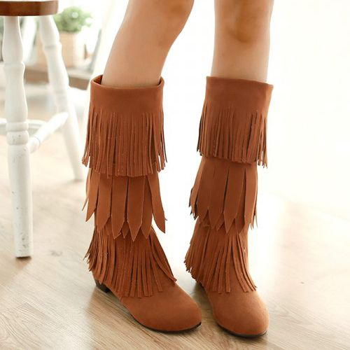 Winter Suede Round Toe Tassel Design Mid Heel Slip On Knee High Brown Cavalier Boots on Luulla