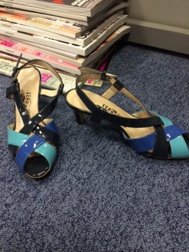 Salvatore Ferragamo BNWOB new patent blue sandals size UK 2.5/3 | eBay