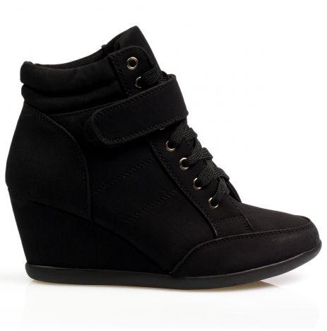 Botki sneakers trampki na koturnie czarne ST09