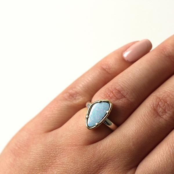 One of a kind ring for every day, handmade Australian Opal Ring in brass & silver, by Yuliya Chorna Jewellery