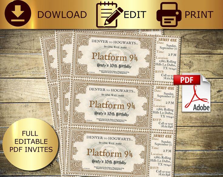 EDITABLE harry potter,potter ticket,hogwarts ticket ...