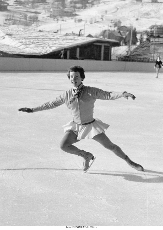 Winter 1956 Cortina d'Ampezzo Winter Games The Soviets broke Canada's gold medal monopoly in ice hockey, and won more medals than anyone else. The US swept five of the six medals in individual figure skating (American Albright Tenley pictured above). image source: http://www.olympic.org