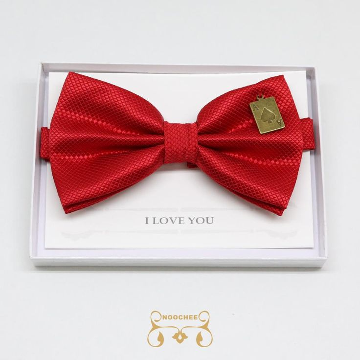 Red bow tie, Handmade, Charm (Ace of Heart), I Love You (Note Card)