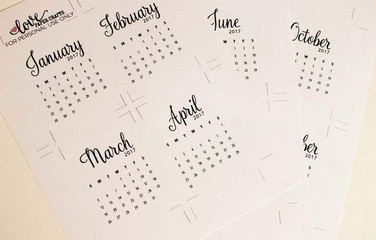 Free Printable 2017 Calendar Journaling Cards | LovePaperCrafts.com