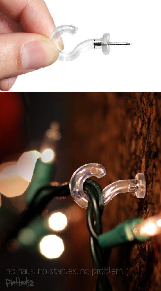 Hang Christmas lights w/out nails or staples! Cute little wall hooks.  pinhooks - Hang Christmas Lights W/out Nails Or Staples! Cute Little Wall Hooks