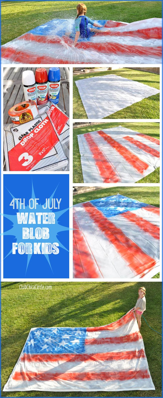 Probably the coolest 4th of July Backyard Party Game... ever! Make a Water Blob for Kids! www.clubchicacircle.com