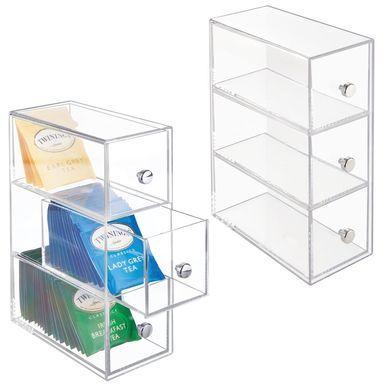 3 Drawer Plastic Vertical Kitchen Storage Organizer Countertop