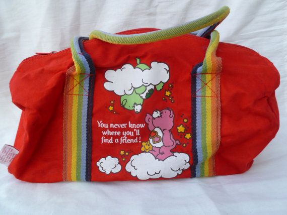 Vintage 1980's Care Bear Duffle Bag by silverliningtoys on Etsy  (had this in yellow)