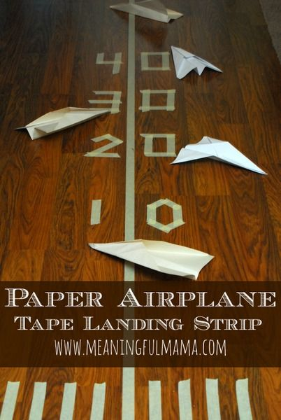 Paper Plane Tape Landing Strip - Fun Indoor Activity from Meaningful Mama. Measure in metric distances to practice familiarity with measurements. EC