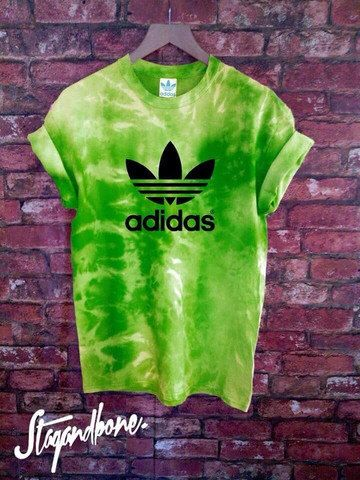 Unisex Authentic Adidas Originals Tie Dye Lime Green T-shirt by SABAPPAREL on Etsy https://www.etsy.com/uk/listing/253350770/unisex-authentic-adidas-originals-tie