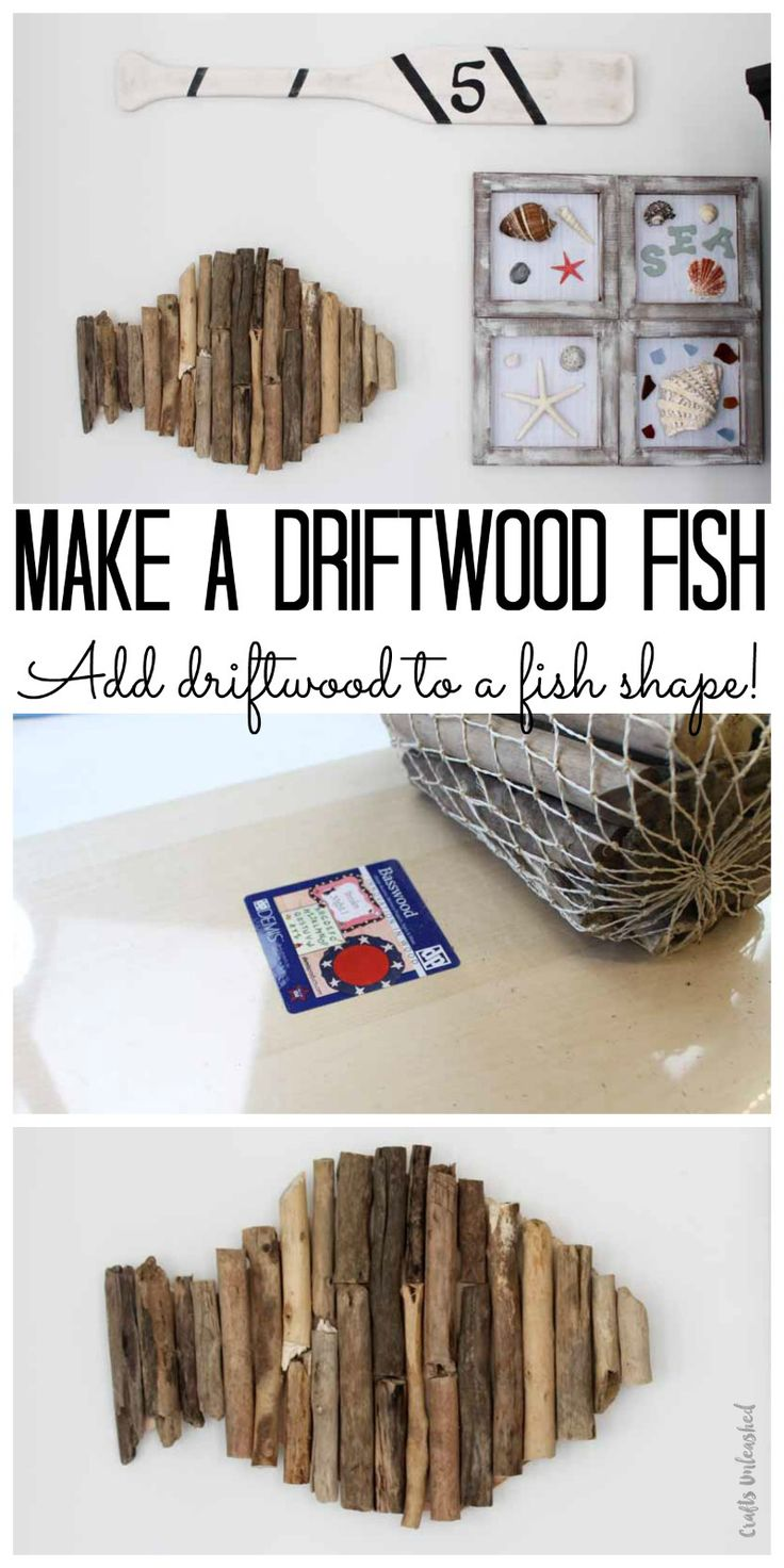 This DIY fish project is perfect for a summer mantel or a beach home. Get your driftwood and make this nautical themed decor for your home.
