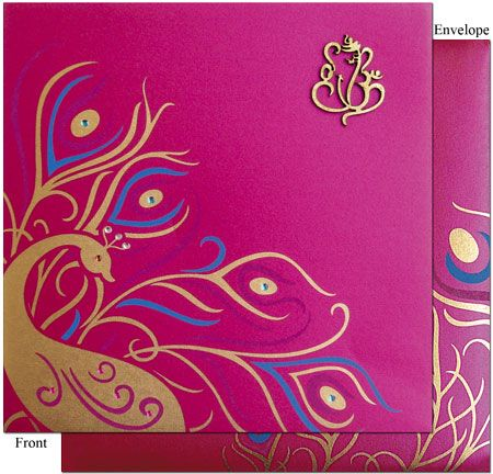 Nice combination of Peacock theme and traditional Ganesha Indian Wedding Invitation .