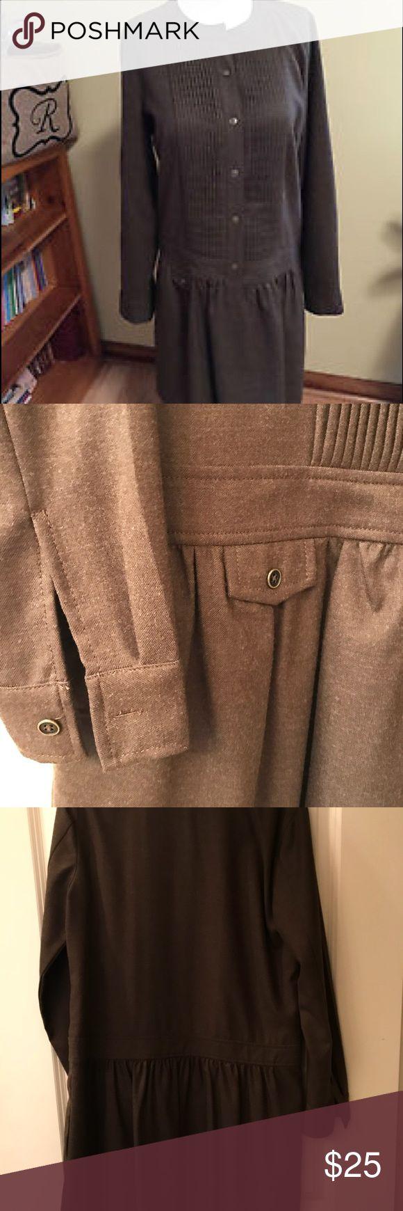 "J.Crew wool button front olive green dress - 10 J.Crew pin tuck dress - button front and at cuffs, 100% wool, olive green, size 10, one faux pocket. Length is 34"" shoulder to hem. J. Crew Dresses Mini"