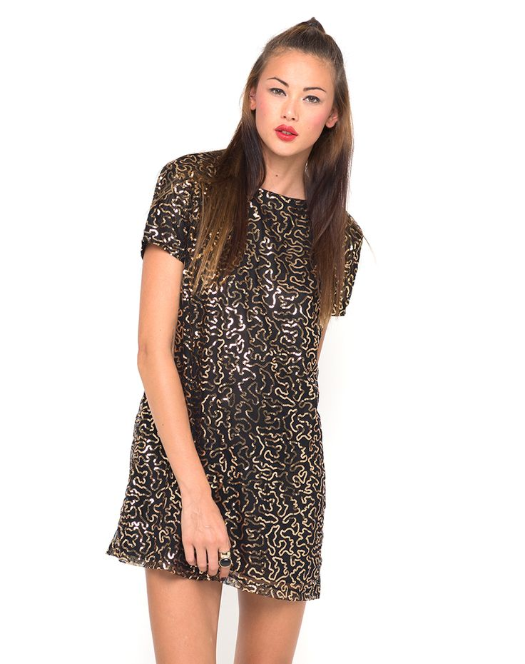 Motel Moonlight Shift Dress in Gold Sequin, TopShop, ASOS, House of Fraser, Nasty gal