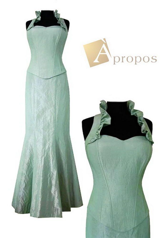 Abendkleid 2- Teiler Korsage Rock Elegant Taft Bodenlang Grün Mint Apropos