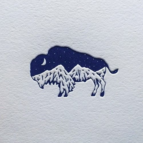 bison mountain logo design Published by Maan Ali - Melody Corley  [This is another effective use of combining two images to create a graphic story. This logo links two images in contrasting scales (bison/lion) which are semiotically related. The result is atmospheric and peacefully alluring.