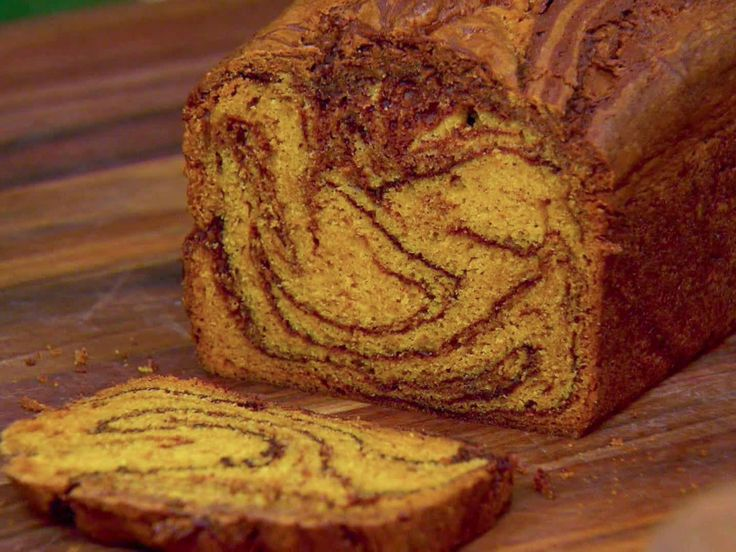 Chocolate-Pumpkin Swirl Bread with Marmalade Butter recipe from Bobby Flay via Food Network