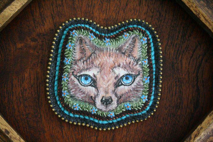 Wolf - Woodland Creature - Wolf Portrait - Embroidery Art - Fiber Art -Original Art - Totem - Wall Hanging - Magic Creature - Patch - Brooch by BlackCatCreativeStd on Etsy https://www.etsy.com/listing/167878366/wolf-woodland-creature-wolf-portrait