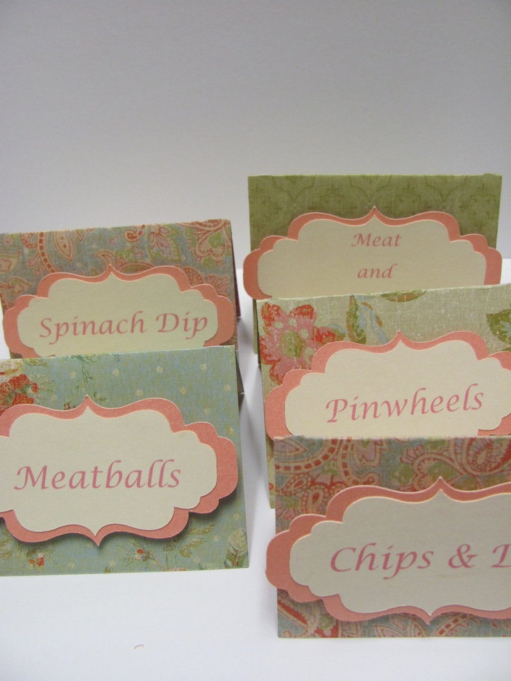 Set of 12 Food Labels, Buffet Food Labels, Bridal Shower decorations, Baby Shower Decorations, Birthday Party Decorations. $10.00, via Etsy.