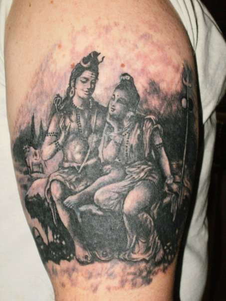 Shiva parvati tattoo source for Har har mahadev tattoo